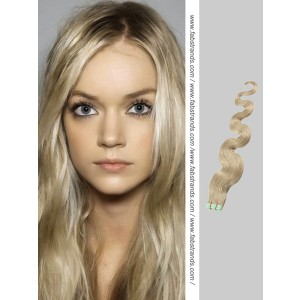 Ash Blonde Wavy Tape in Hair Extensions