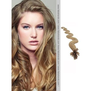Ash Brown Wavy Stick Tip Hair Extensions