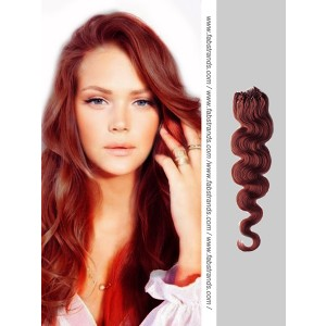 Auburn Wavy Micro Loop Hair Extensions