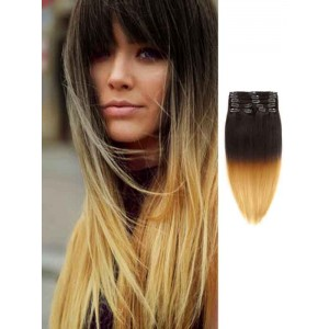 Black to Blonde Remy Human Clip in Hair Extensions
