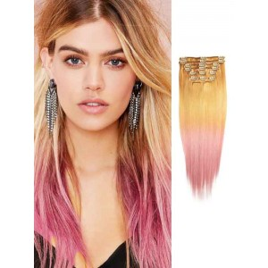Blonde and Pink Silky Remy Ombre Hair Extensions