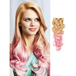 Blonde and Pink Wavy Remy Ombre Hair Extensions