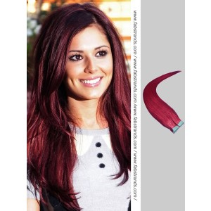 Burgundy Tape in Hair Extensions