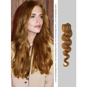 Chestnut Brown Wavy Micro Loop Hair Extensions