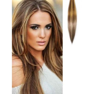 Dark Brown Hair with Highlights Clip in Extensions