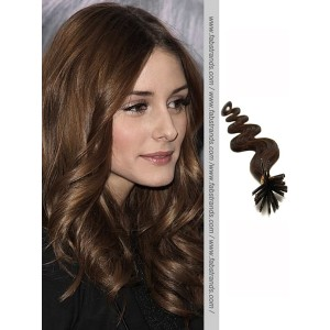 Dark Brown Wavy Stick Tip Hair Extensions