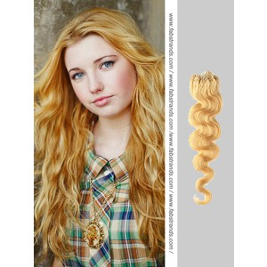 Golden Blonde Wavy Micro Loop Hair Extensions