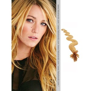 Golden Blonde Wavy Stick Tip Hair Extensions