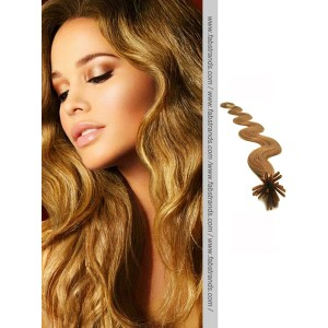 Golden Brown Wavy Stick Tip Hair Extensions