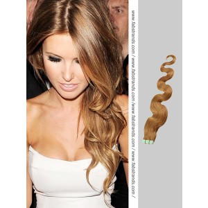 Golden Brown Wavy Tape in Hair Extensions