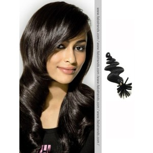 Jet Black Stick Tip Wavy Hair Extensions