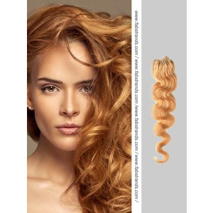 Light Brown Wavy Micro Loop Hair Extensions
