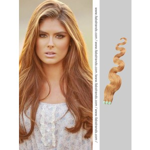 Light Brown Wavy Tape in Hair Extensions