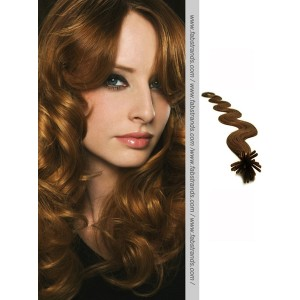 Medium Brown Wavy Stick Tip Hair Extensions