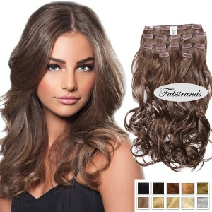 Chestnut Brown Wavy Clip In Hair Extensions
