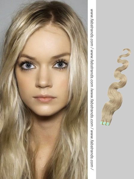 Wavy Blonde Tape Hair Extensions 75