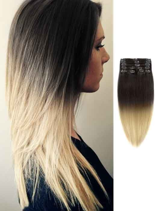 Black And Blonde Silky Straight Remy Ombre Hair