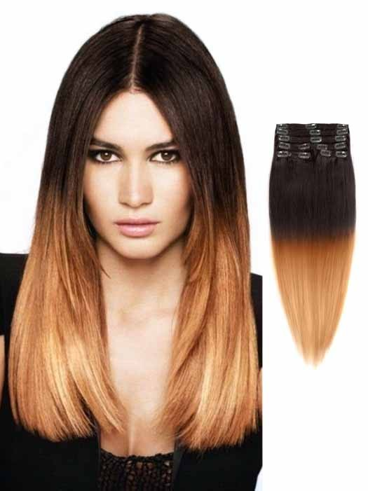 Black To Light Brown Silky Ombre Hair Extensions