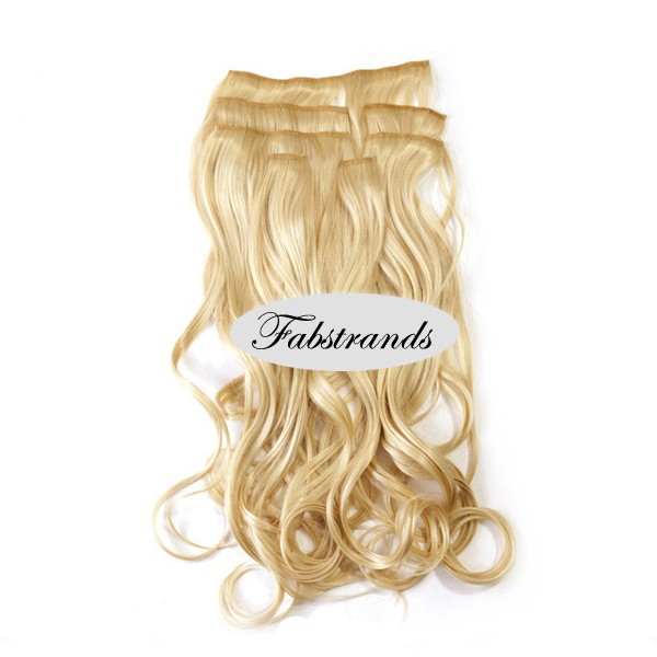Pale Blonde Wavy Clip In Hair Extensions