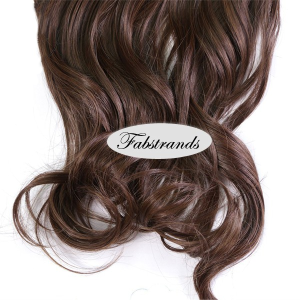 Chocolate brown wavy clip in hair extensions pmusecretfo Image collections
