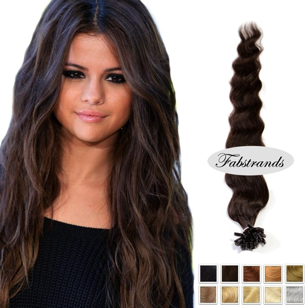 Dark Brown Wavy Keratin Extensions