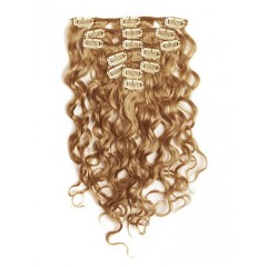 18 inch Beige Brown Cheap Curly Clip in Hair Extensions 7pcs