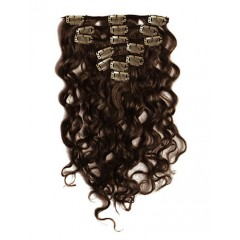 18 inch Dark Brown Cheap Curly Clip in Hair Extensions 7pcs