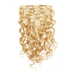 18 inch Golden Blonde Cheap Curly Clip in Hair Extensions 7pcs
