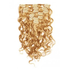 18 inch Strawberry Blonde Cheap Curly Clip in Hair Extensions 7pcs