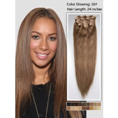 18 inch Light Brown Cheap Curly Clip in Hair Extensions 7pcs