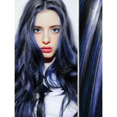 Blue Highlights in Black Body Wave Hair Extensions