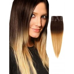 Brown to Blonde Silky Straight Ombre Hair Extensions