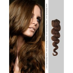 Chocolate Brown Wavy Micro Loop Hair Extensions
