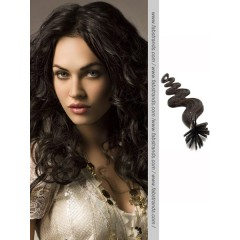 Natural Black Wavy Stick Tip Hair Extensions
