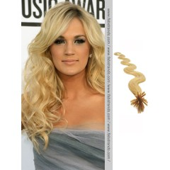 Pale Blonde Wavy Stick Tip Hair Extensions