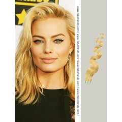 Pale Blonde Wavy Tape in Hair Extensions
