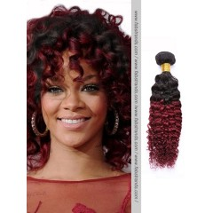 Black to Burgundy Ombre Kinky Curly Weft