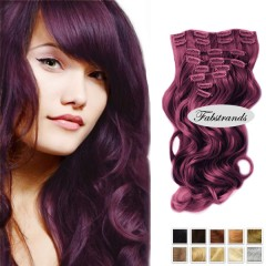 Burgundy clipin wavy hairextensions