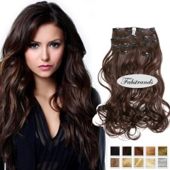 Chocolate Brown Wavy Clip In Hair Extensions