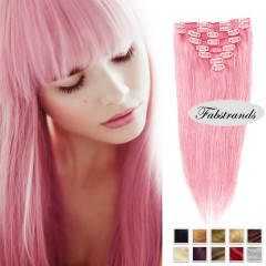 pink clipin hairextensions