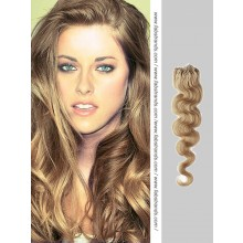 Ash Brown Wavy Micro Loop Hair Extensions