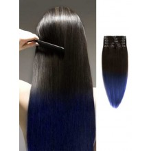 Black to Blue Silky Ombre Human Hair Extensions