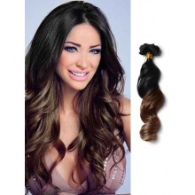 Black to Brown Wavy Remy Ombre Hair Extensions