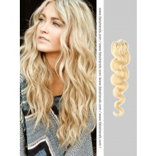Bleach Blonde Wavy Micro Loop Hair Extensions