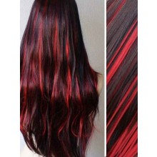 Burgundy Highlights in Black Clip in Hair Extensions