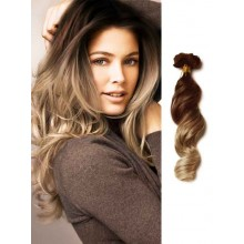 Dark Brown Ombre Remy Hair Extensions Loose Wave