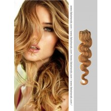 Golden Brown Wavy Micro Loop Hair Extensions