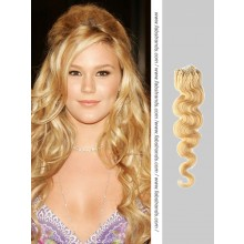 Pale Blonde Wavy Micro Loop Hair Extensions