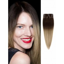 Remy Ombre Hair Extensions Silky Dark Brown