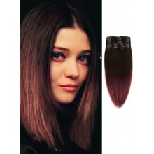 Silky Straight Auburn Ombre Clip in Hair Extensions